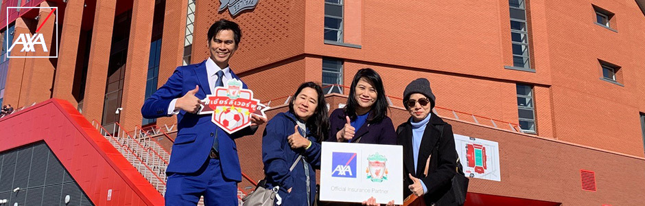 """AXA Insurance Thailand Takes the Lucky Winners from Campaign """"Win an Exclusive Experience at Anfield with LFC Competition"""" on a Tour to England to Watch English Premier League Match"""